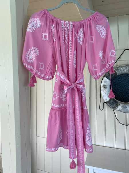 "DRESS ""CATHY"" PINK WITH WHITE EMBROIDERY"