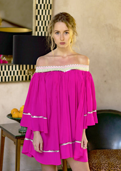 "LIGHT SUMMER TUNIC ""ANGEL"" FUCHSIA/SILVER/GLITTER"
