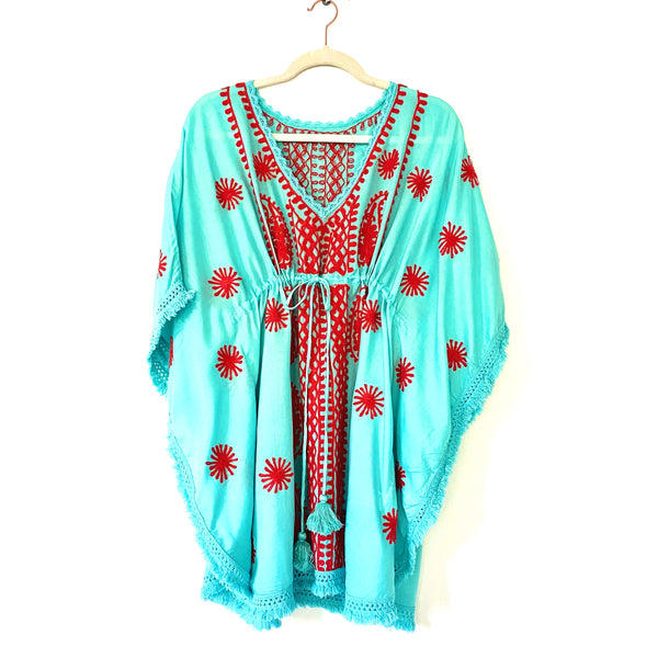 "TUNIC ""OCEAN"" TURQUOISE WITH RED EMBROIDERY"