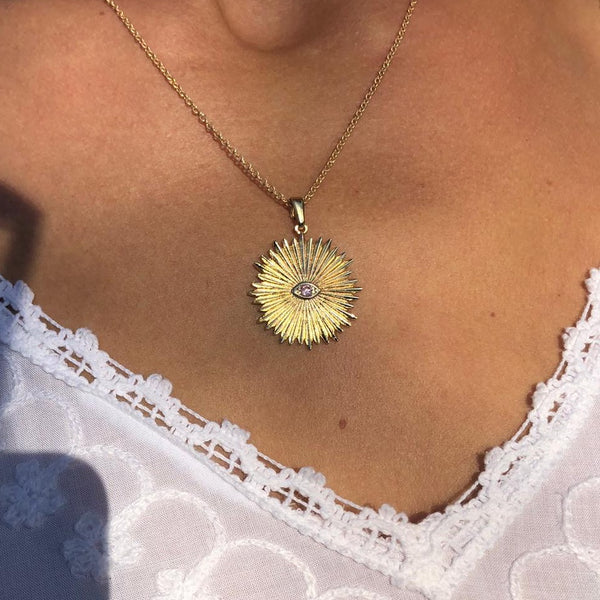 SUN NECKLACE WITH PINK ZIRCONIA