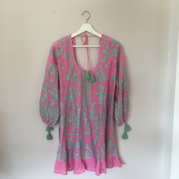 "Tunic ""Emma"" Pink With Turquoise Embroidery"