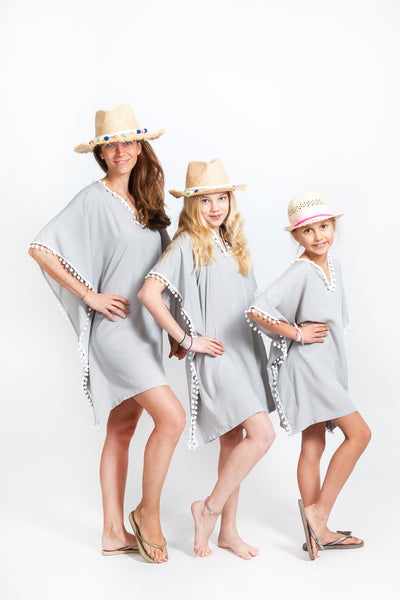 "TUNIC ""MERMAID UNDER COVER"" GREY/ WHITE POMPONS"