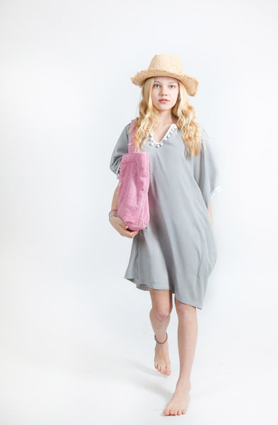 "KIDS TUNIC ""MERMAID""  GREY/WHITE POMPONS"