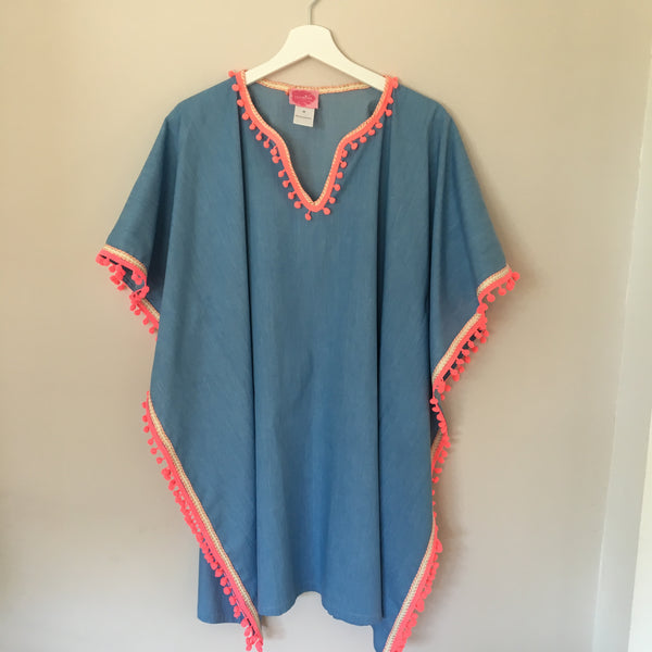 KIDS Jeans Tunic with Rosé-Gold Ribbon and Neon Pompons