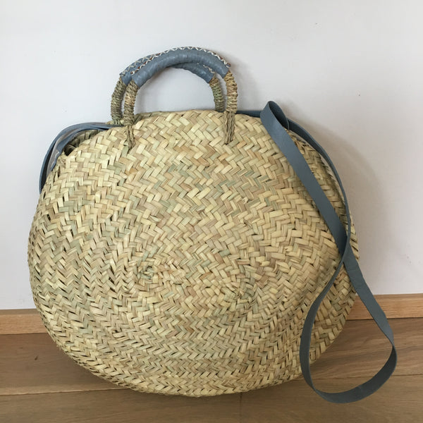 ROUND LARGE BASKET ROMA WITH LEATHER STRAP