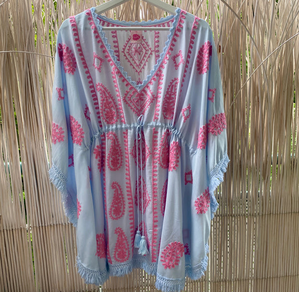 "TUNIC ""OCEAN"" TURQUOISE WITH ROSÉ EMBROIDERY"