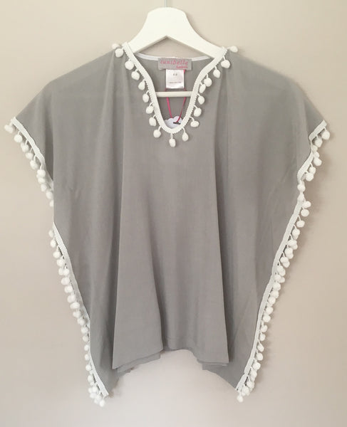 VISCOSE KIDS TUNIC  - GREY/WHITE POMPONS