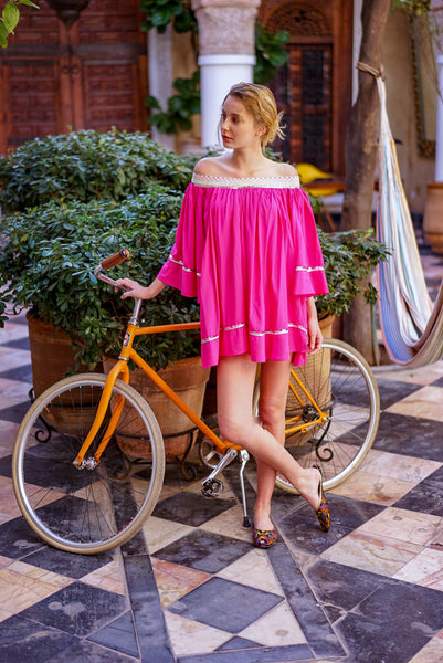 "Light summer tunic ""Angel"":fuchsia/silver/glitter"
