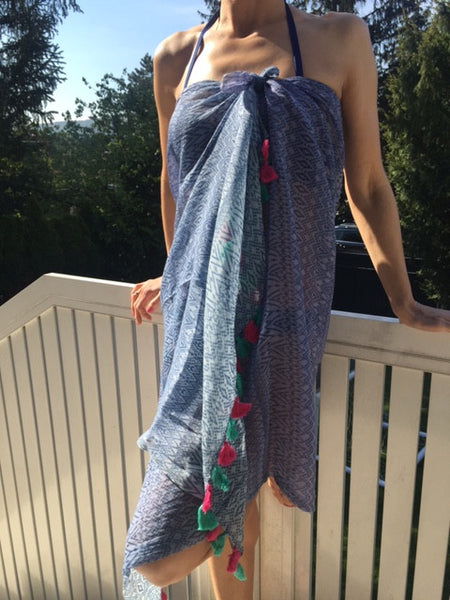 Blue cotton scarf/pareo