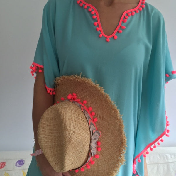 VISCOSE TUNIC - TURQUOISE/NEON POMPOMS