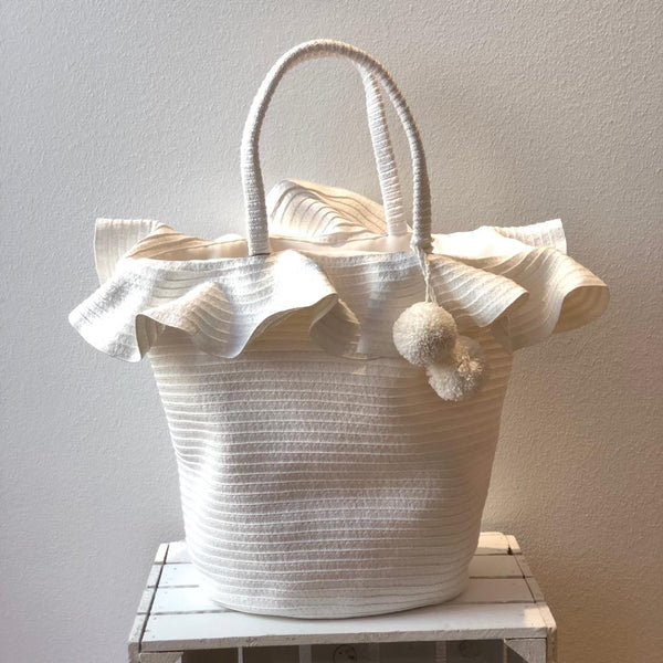 LARGE ROUND BASKET CAPRI WHITE