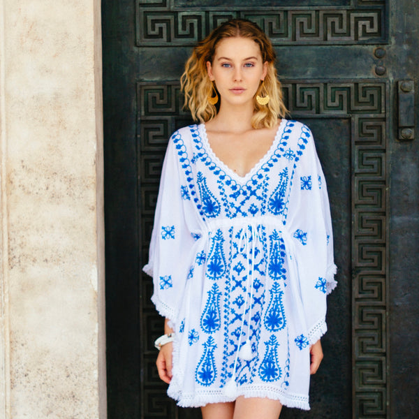 "TUNIC ""OCEAN"" WHITE WITH BLUE EMBROIDERY"