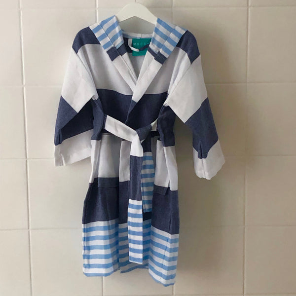 HAMAM BATHROBE BLUE / WHITE