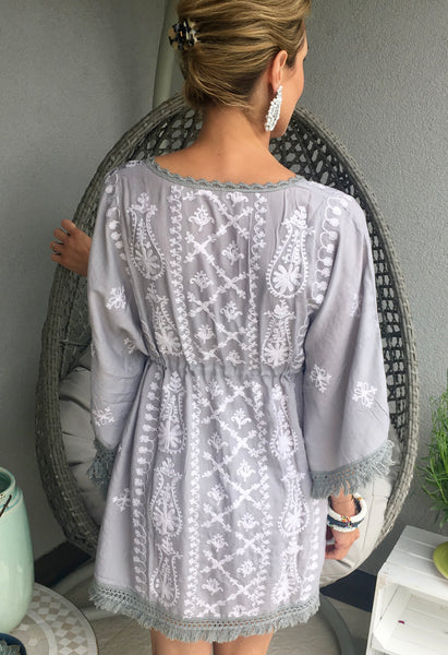 "Tunic ""OCEAN"" GREY WITH WHITE EMBROIDERY"