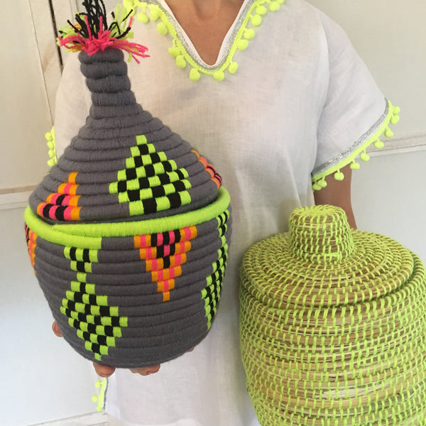 Vintage Berber Basket Grey with Pink, Neon Yellow and Orange