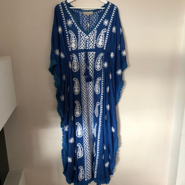 LONG OCEAN/DRESS COBALT BLUE WITH EMBROIDERY