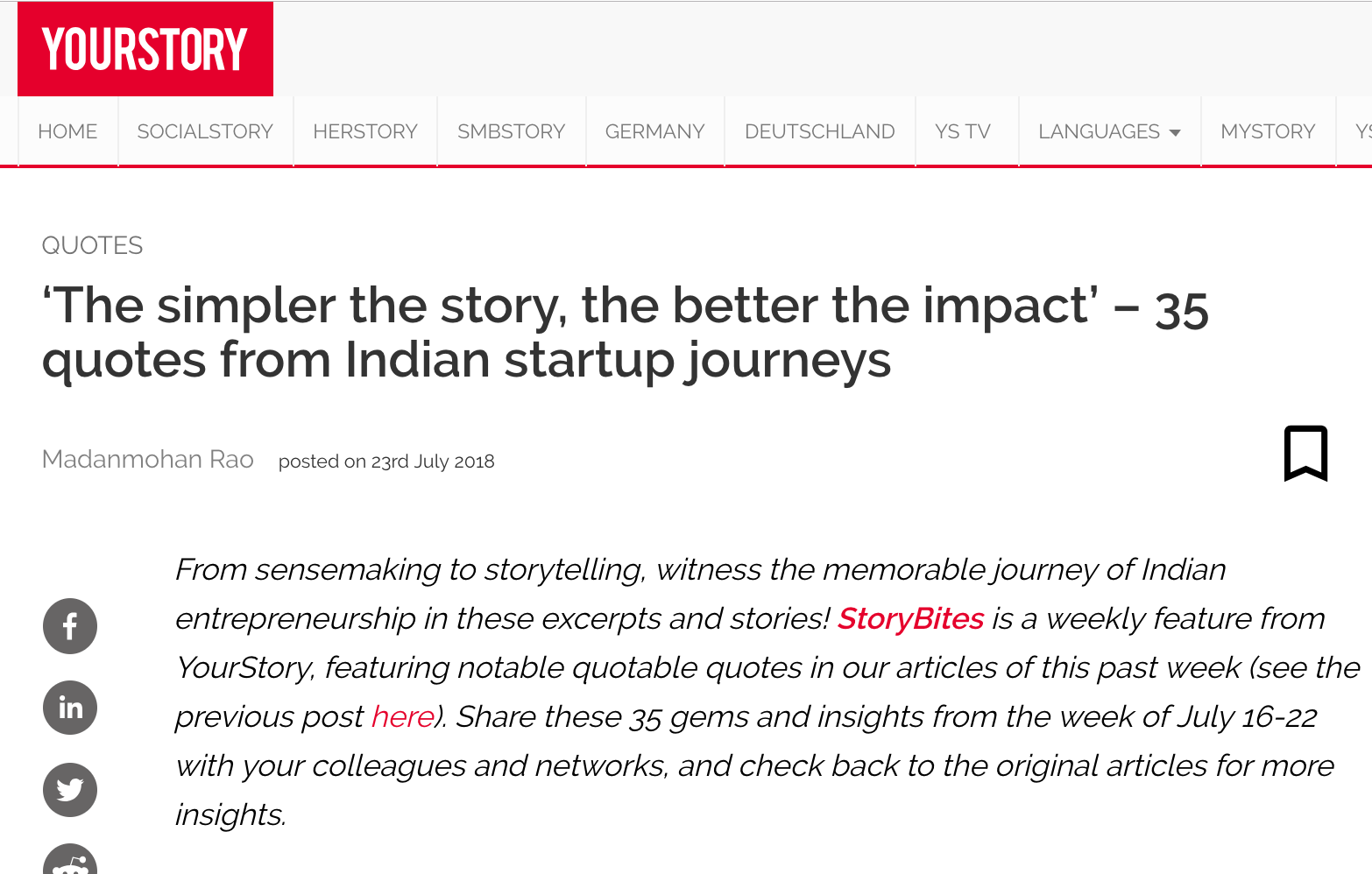 YourStory | 'The simpler the story, the better the impact' – 35 quotes from Indian startup journeys