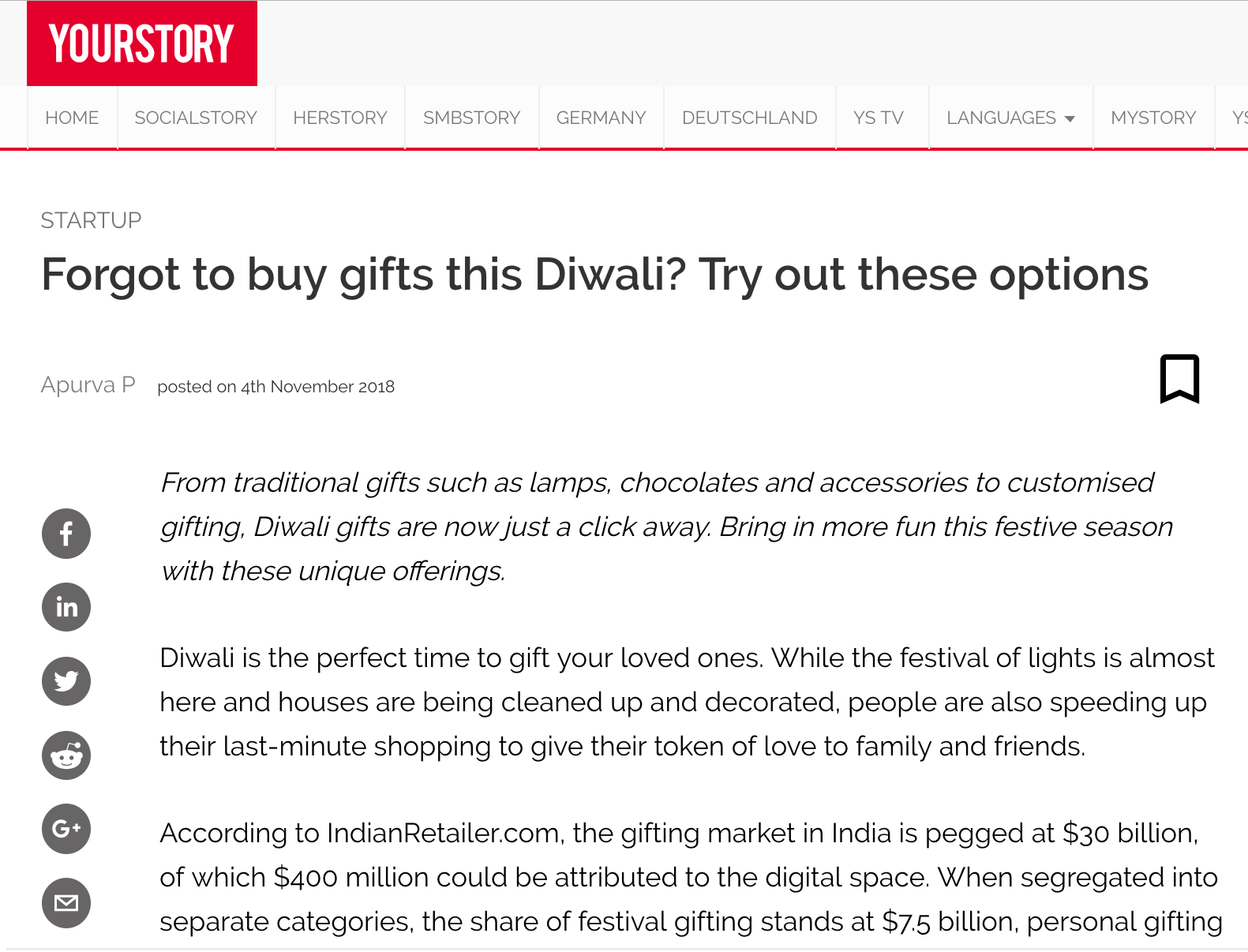 YourStory | Forgot to buy gifts this Diwali? Try out these options