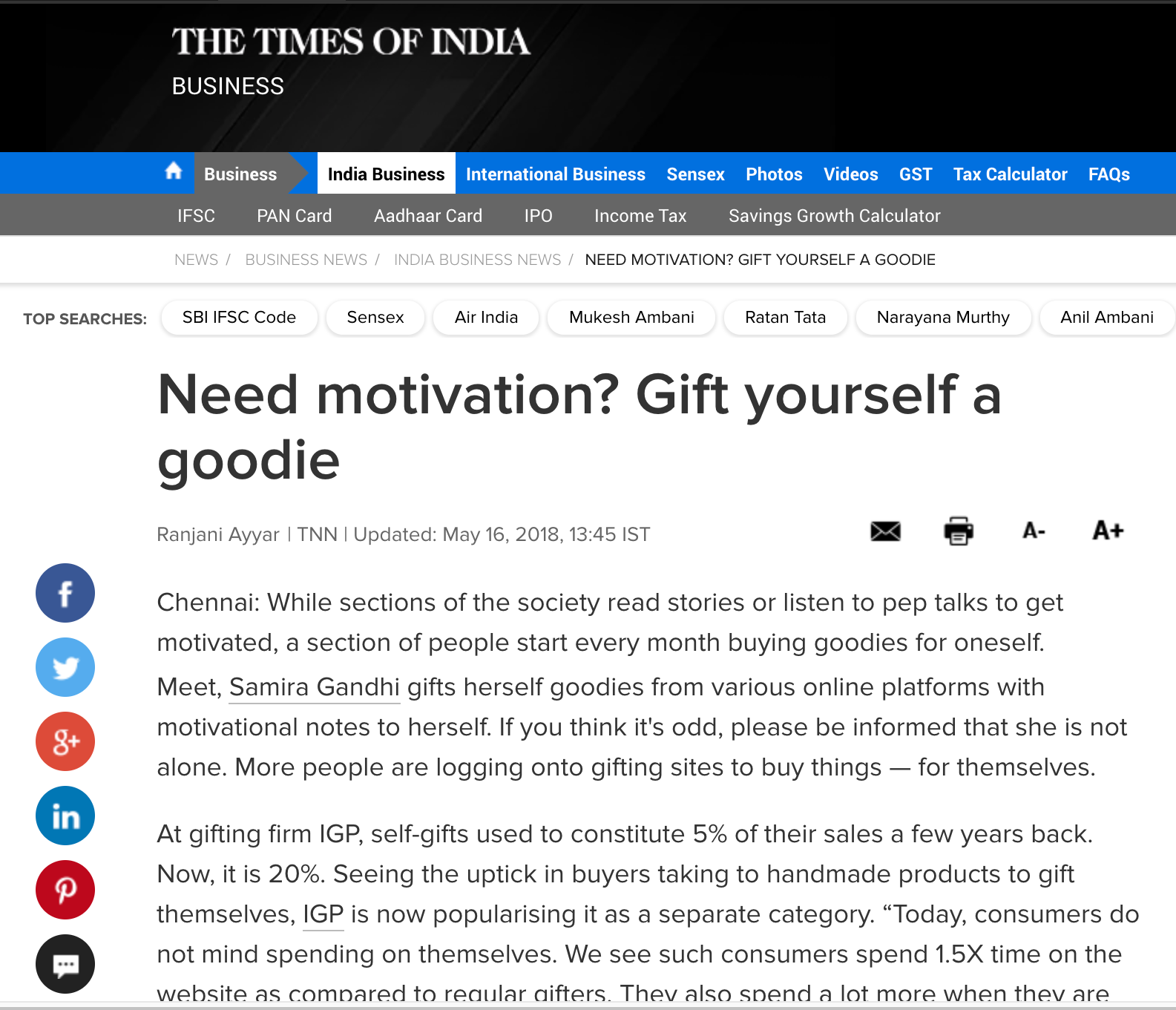 The Times Of India | Need motivation? Gift yourself a goodie