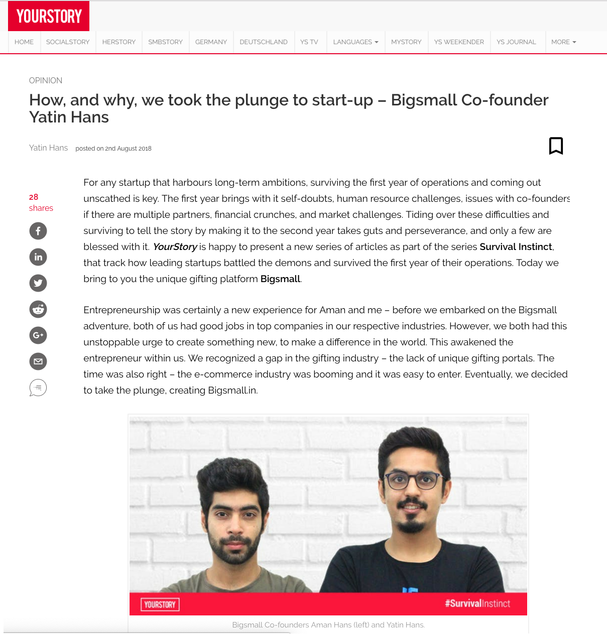 YourStory | How, and why, we took the plunge to start-up – Bigsmall Co-founder Yatin Hans