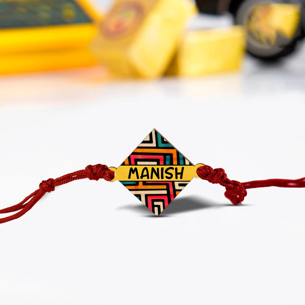 Personalized Wooden Rakhi | COD Not Available