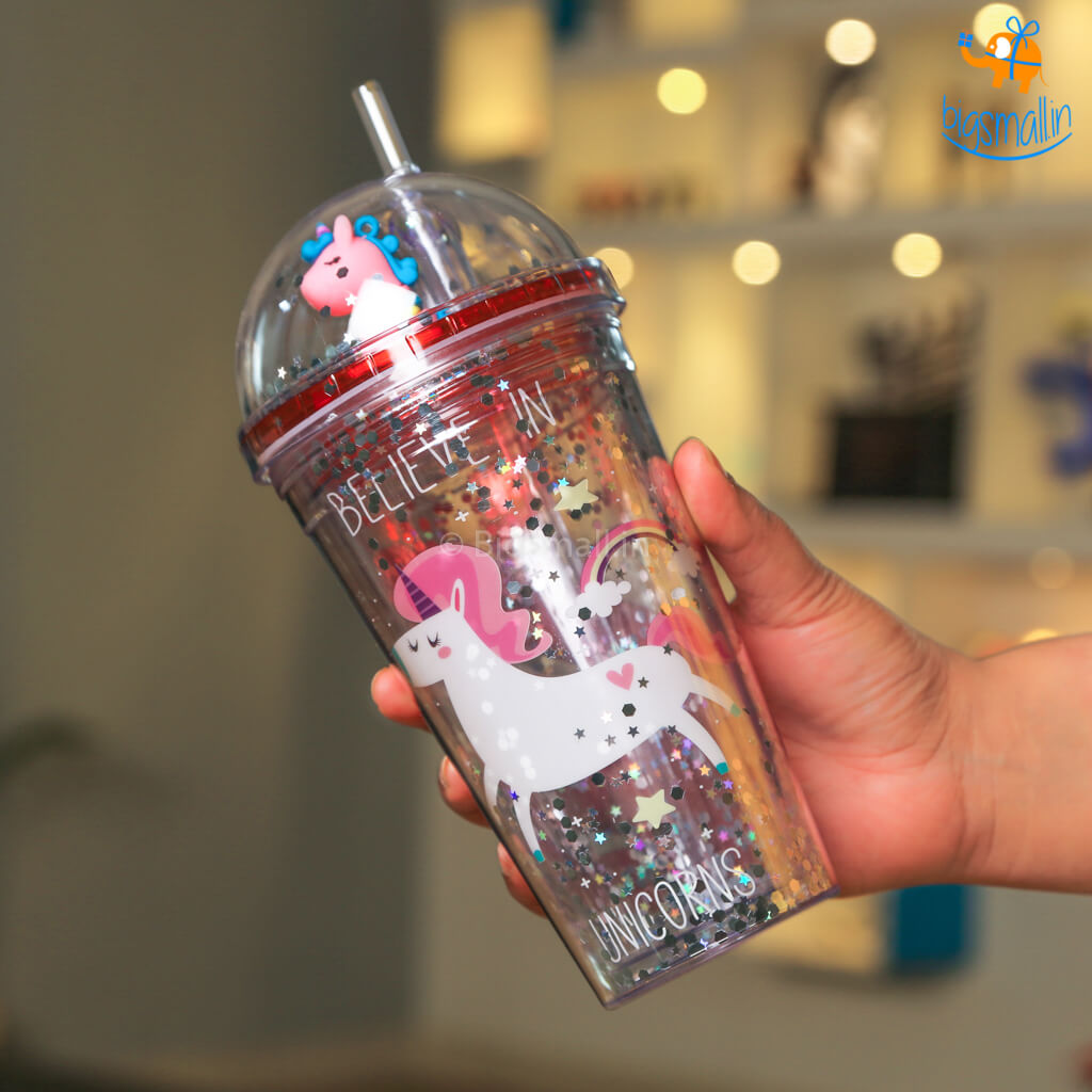 Unicorn Sparkle Sipper Bottle With Straw