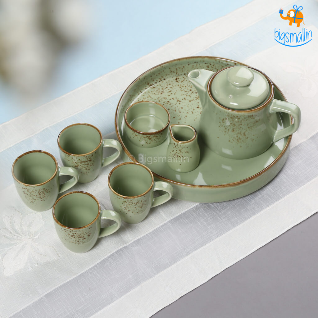 Dusted Flora Green Tea Set - Set of 8