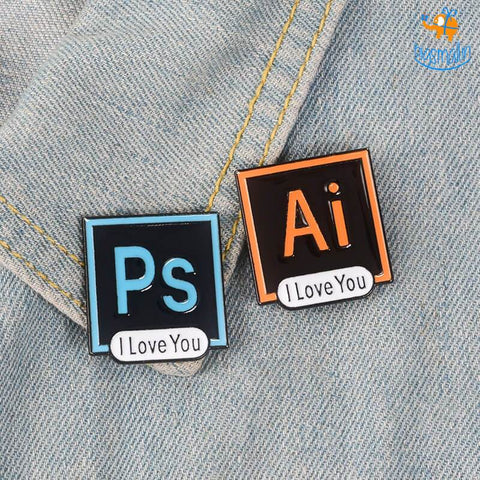 Ps Ai Love You Lapel Pins - Set of 2 - bigsmall.in