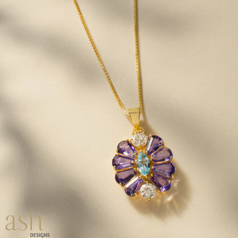 Purple Emperor Gemstone Pendant with Chain - bigsmall.in