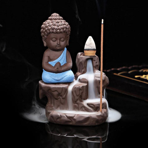 Back-flow Buddha Incense Burner With 40 Cones - bigsmall.in