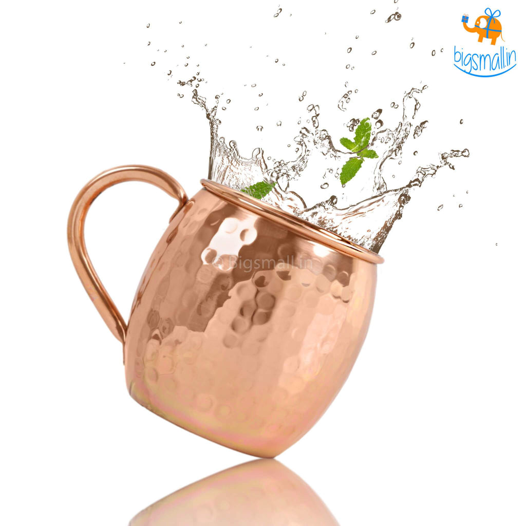 Barrel-Shaped Copper Mugs - Set of 2 - bigsmall.in