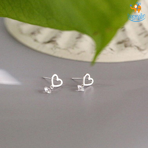 Heart Shaped Ear Studs - bigsmall.in