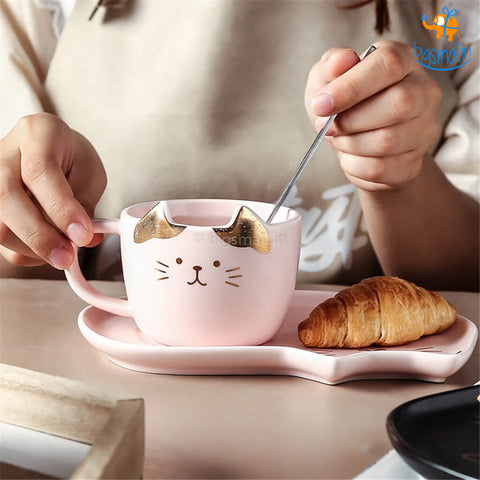Kitty Cup & Saucer With Spoon Set - bigsmall.in