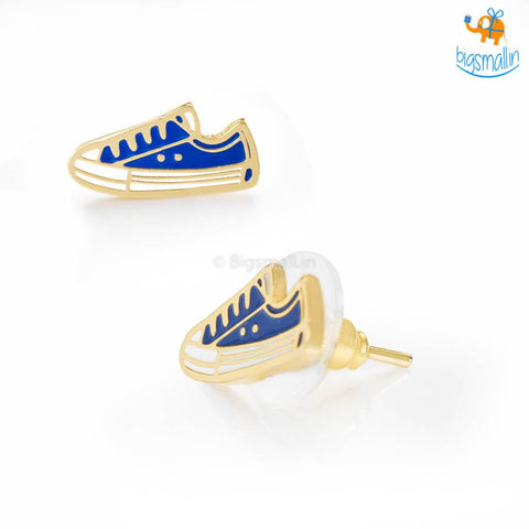 Canvas Shoes Gold Plated Earrings