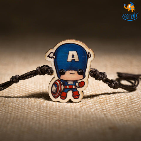 Captain America Wooden Rakhi