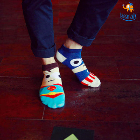Cartoon Superhero Socks - Set of 5