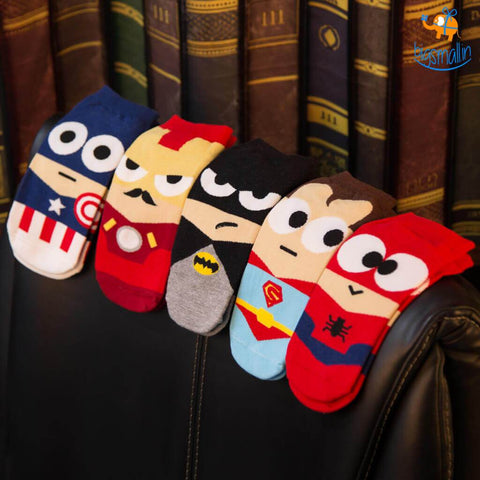 Cartoon Superhero Socks - Set of 5 - bigsmall.in
