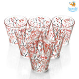 Sakura Printed Glasses - Set of 6