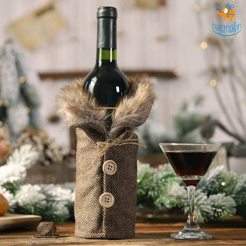 Christmas Fur Wine Bottle Cover - Set of 2 - bigsmall.in