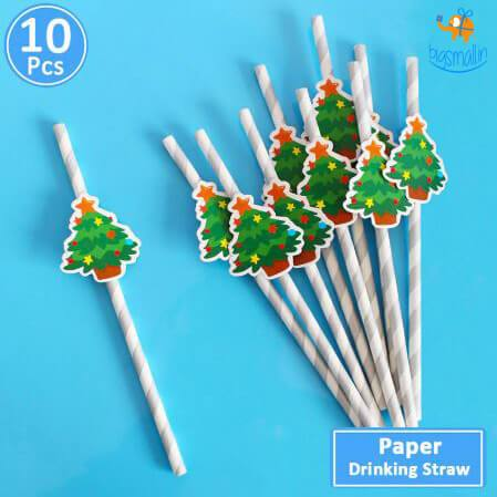 Christmas Paper Straw - Pack of 10 - bigsmall.in