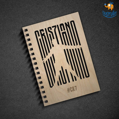 Cristiano Ronaldo Engraved Wooden Diary - bigsmall.in