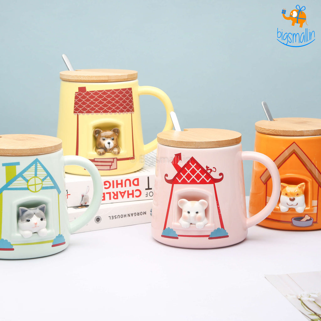 Cute Animal Themed Mug With Lid & Spoon
