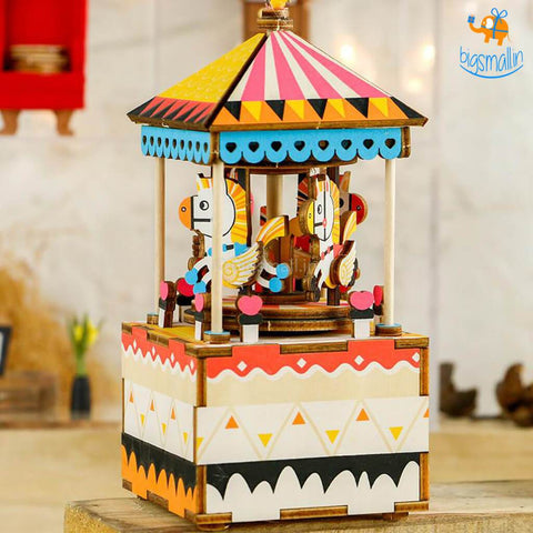 DIY Music Box Wooden Puzzle - Merry-Go-Round - bigsmall.in
