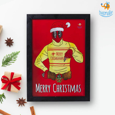 Deadpool Christmas Poster with Frame - bigsmall.in