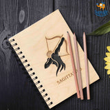 Sun Sign Laser Cut Wooden Diary - bigsmall.in