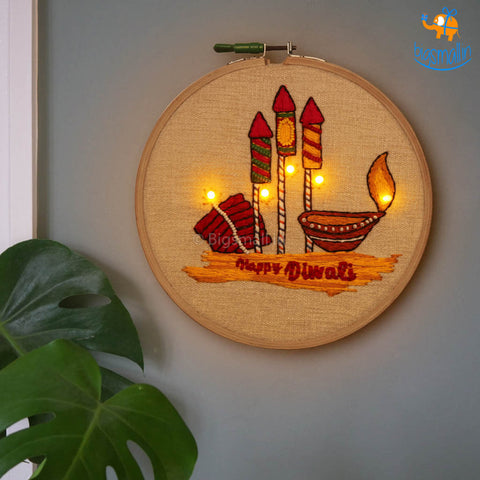 Handmade Diwali LED Embroidery Hoop Art