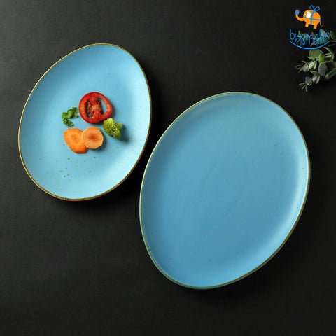Egg Shaped Artisan Plates - Set of 2