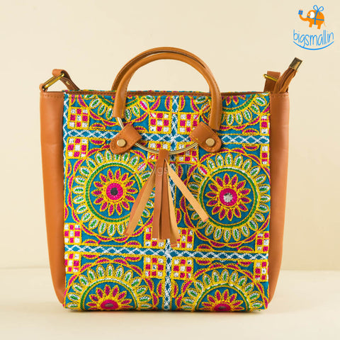 Embroidered Indian Art Tote Bag