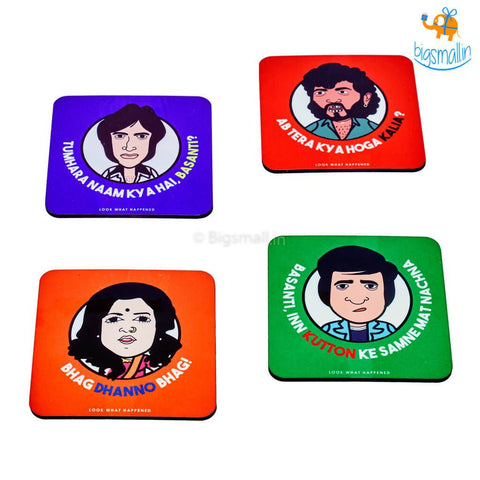 Sholay Filmy Coasters - Set of 4 - bigsmall.in