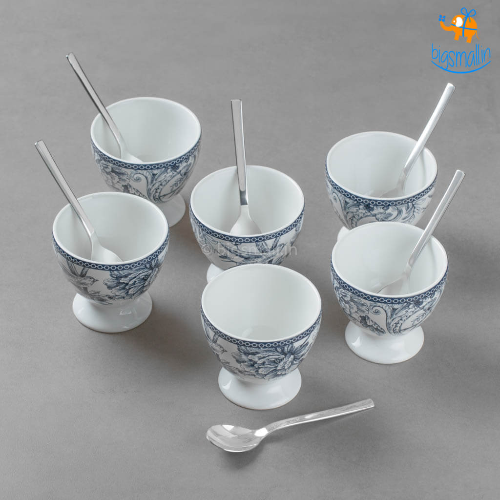 Flora Dessert Cup Set With Spoons - Set of 6